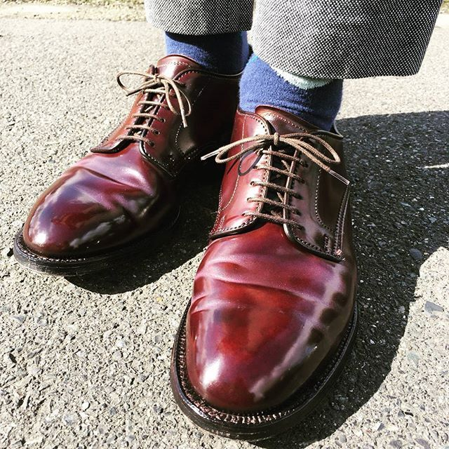 2018/01/27 14:19:30 resolute710gucchi 休日は#オールデン 履けていい。 東京では#靴磨き日本選手権大会 が行われているようですね。 #コードバン の皺がピンクになるのは永遠の課題 #サフィール #ミラーグロス を使う前に通常#サフィールポリッシュ を薄く全体にのせる方が防水性が増すのか?#alden#aldenshoes#aldenarmy#beezrichcream#englishgild #あしもと倶楽部#足元クラブ#足元倶楽部#靴磨き#靴バカ#shoes#shoestaglam#shoeshine#革靴#靴#shellcordovan#コードバン脱皮#薄化粧推進派 #53501