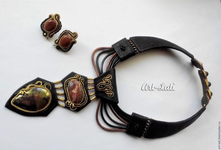 Купить Кожаное колье и серьги - черный, рыжий цвет, золотой, art-lati