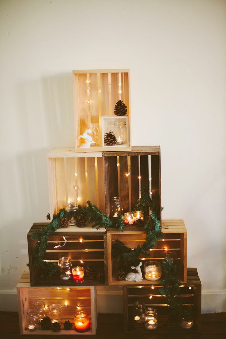 Wooden crate Christmas tree from Sincerely, Kinsey