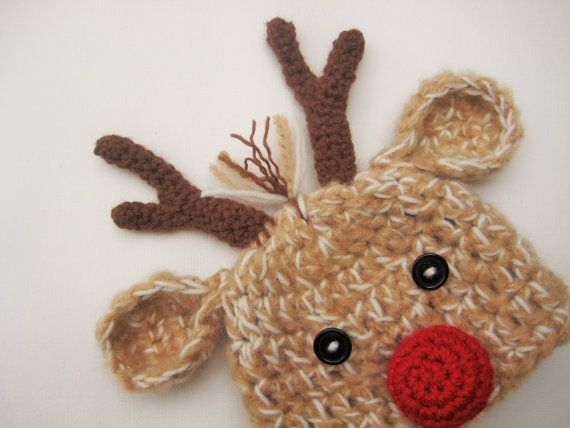 Crochet Reindeer Hat Baby Reindeer Hat by AdrisLittleCuties                                                                                                                                                                                 More