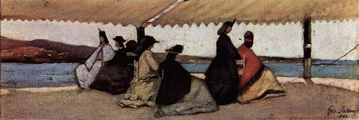 """""""La rotonda dei bagni Palmieri"""", Giovanni Fattori, 1866; olio su tela, 12x35 cm; conservato presso la Galleria d'arte moderna, Firenze."""