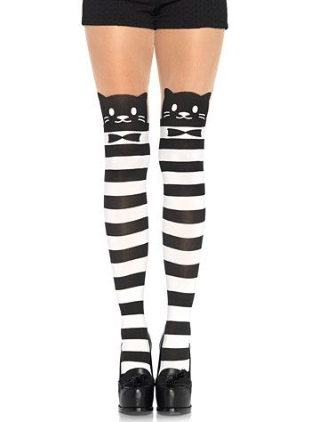 Fancy Cat Striped Illusion Pantyhose at PLASTICLAND
