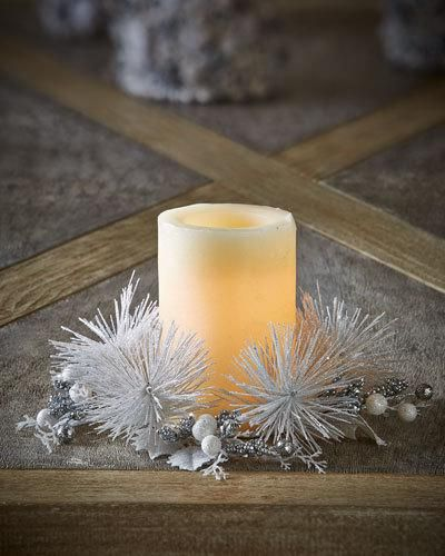 H8EN1 Salzburg Creations White & Silver Fireworks Candle Ring