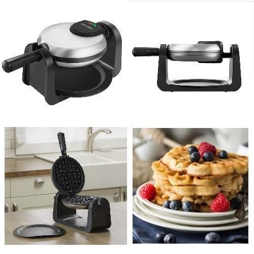 flip belgian waffle maker commercial double with ceramic nonstick finish black