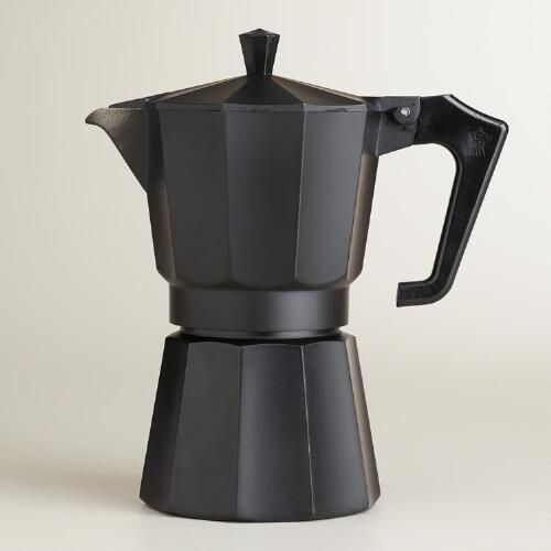 One of my favorite discoveries at WorldMarket.com: Black Matte 6-Cup Stovetop Moka Pot Espresso Maker - 19.99