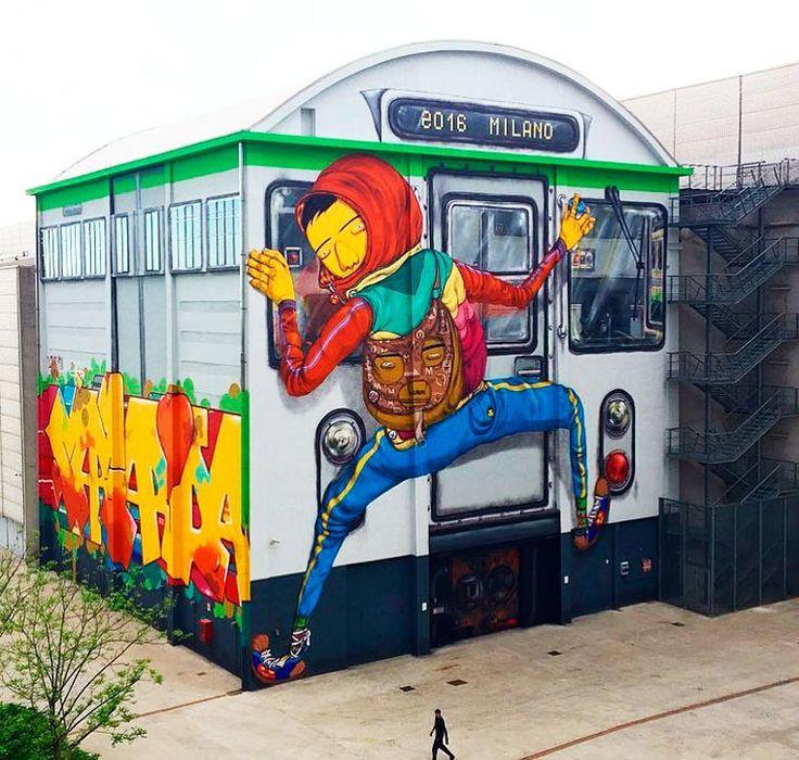Les deux frères street artists du duoOs Gemeos viennent de dévoiler une oeuvre titanesque,transformant lehangar du Pirelli HangarBicocca, à Milan, en u