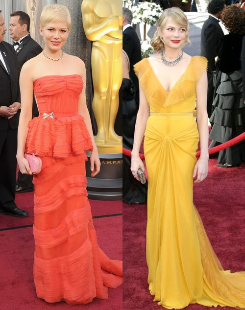 Oscars 2012: Michelle Williams' red hot dress vs. yellow ...
