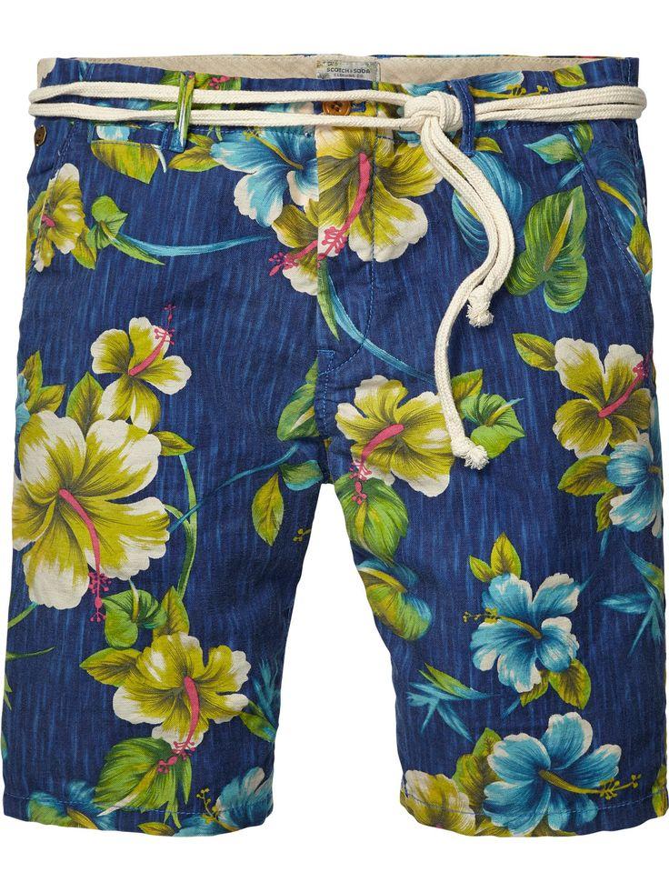 Shorts playeros de lino/algodón flameado | Shorts | Ropa para hombre en Scotch & Soda