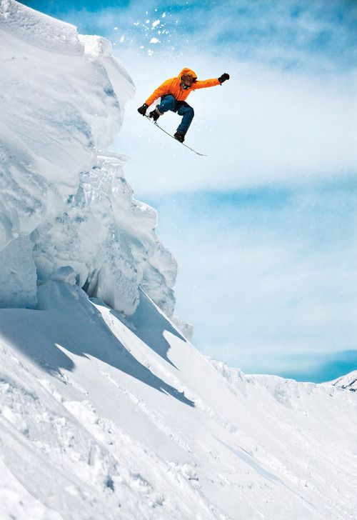 Norwegian snowboarder Markus Moberg on the backside of Colorado's Vail Mountain