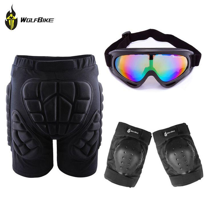 Skiing Skate Snowboard Skating Protective Shorts+ Knee Pads+X400 UV Protection Goggle