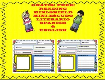 FREEBIE-It is a bilingual SPANISH/ENGLISH Mini Reading Shield.These mini reading shield can be used independently for a listening center for students to reflect on their reading understanding of any given text.  This can also be use this shield as a guided document for helping students with reading skills.