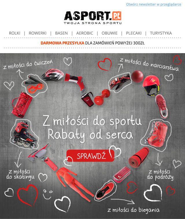 Walentynki na sportowo/Sport Valentine's Day #sport #walentynki #valentine's Day #newsletter #graphicdesign