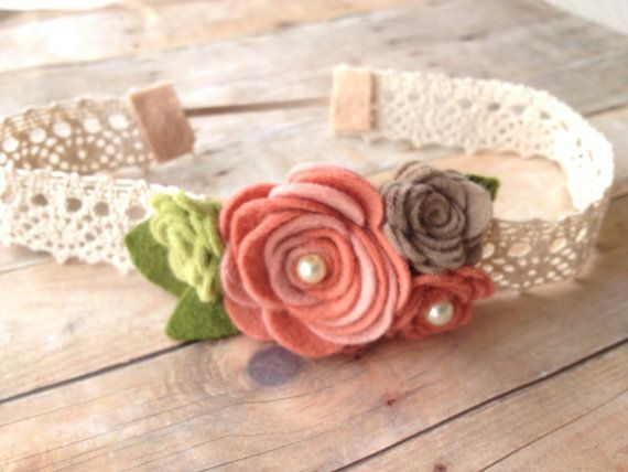 Vintage baby headband - flower garland - baby, toddler headband - vintage headband - photo prop on Etsy, $12.00