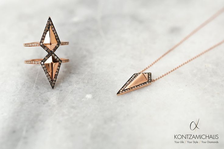 Stand out from the rest with this unique collection; white and brown diamonds set carefully on this shield ring and pendant.  Stay tuned for more… #KontzamichalisJewellery