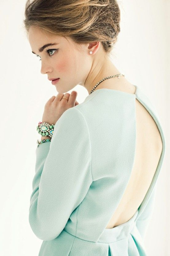 mint green dress with a great silhouette + mint green jewelry