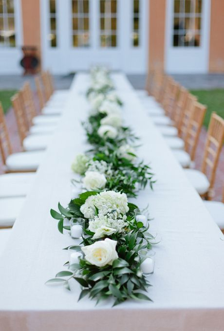 Classic wedding centerpiece of white Juliet garden roses and hydrangeas with deep greenery