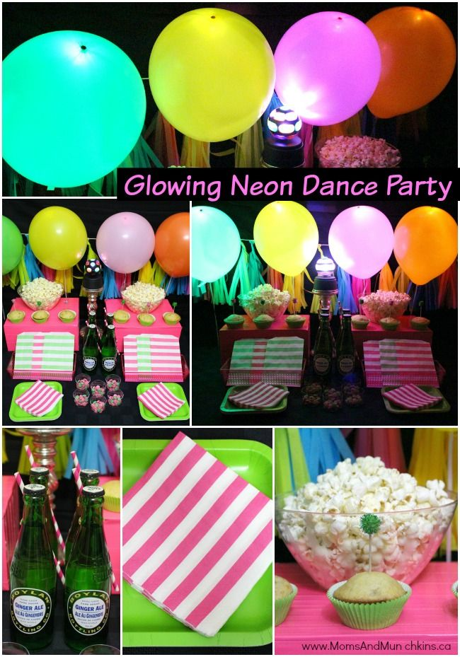 Glowing Dance Party Ideas - decorations, food, activities, favors and more!
