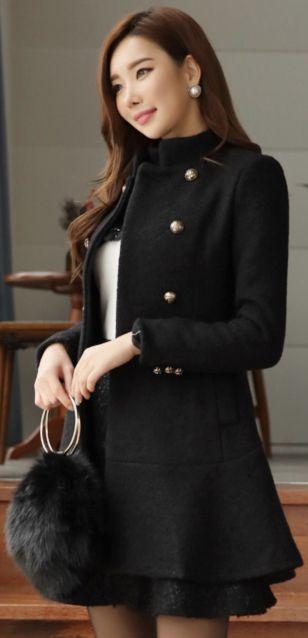 StyleOnme_Rabbit Fur Collar Wool Blend Coat #black #wool #coat #koreanfashion #kstyle #kfashion #wintertrend