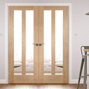 Novara Oak French Door Pair with Clear Safety Glass