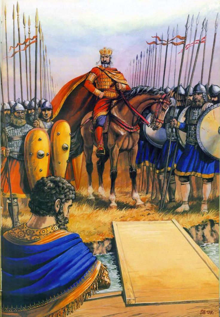 Byzantine emperor and his army