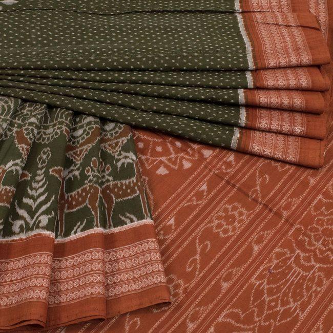 Handwoven Green Ikat Bandha Cotton Saree With Deer Motifs 10016164 - AVISHYA.COM