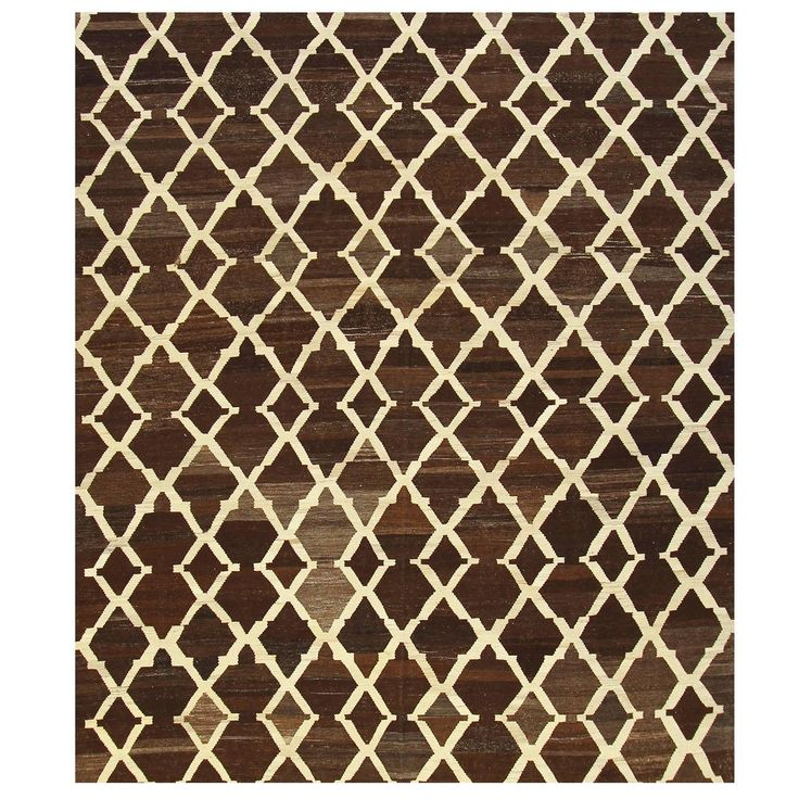 Tracery Design Dark Brown Kilim | See more antique and modern Central Asian Rugs at https://www.1stdibs.com/furniture/rugs-carpets/central-asian-rugs