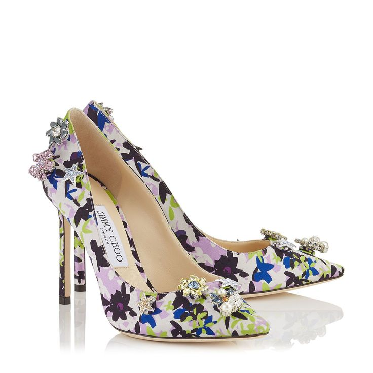 Jazz 100 Pointy Toe Pumps in Apple and Lilac Camoflower Satin with Jewelled  Buttons.