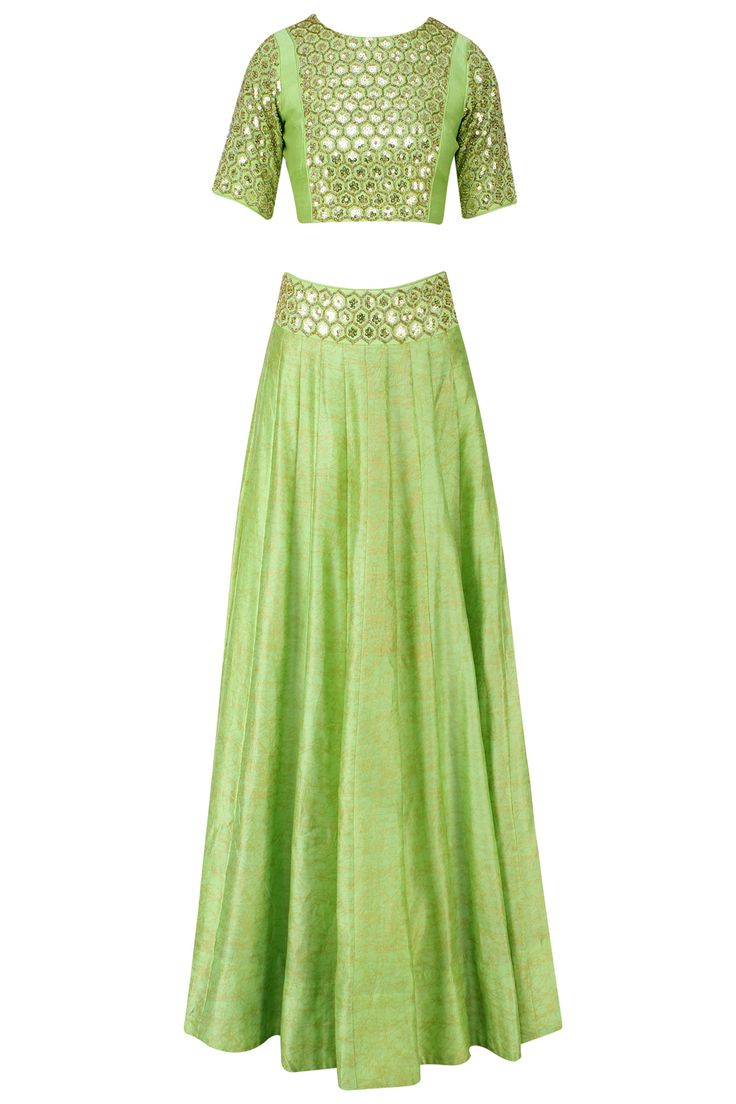 Green sequins embrooidered crop top and lehenga set available only at Pernia's…