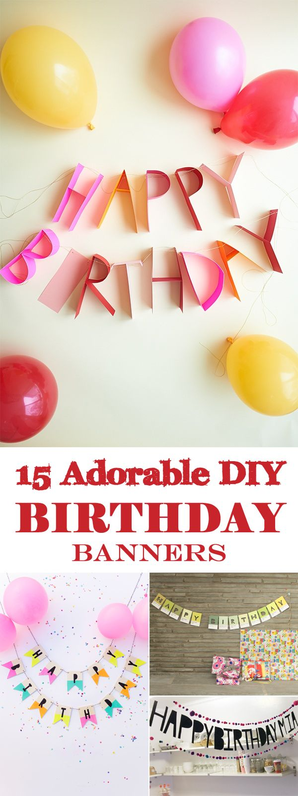 15 Adorable DIY Birthday Banners - party decorations
