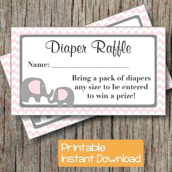Baby Shower Diaper Raffle Tickets Pink Grey Elephant by BumpAndBeyondDesigns, $4.00