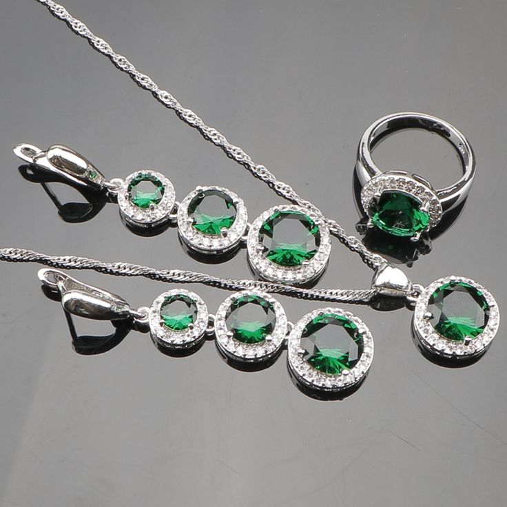 Green Created Emerald White Topaz 925 Sterling Silver Wedding Jewelry Sets For Women Necklace Pendant Earrings Rings Free Box
