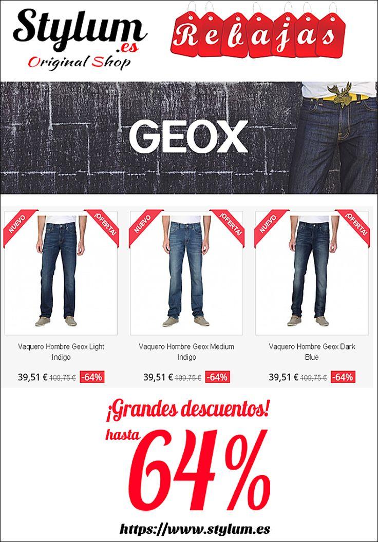 ¡REBAJAS en STYLUM.ES! Pantalones vaqueros de hombre GEOX , 98% de algodón , 3 modelos distintos. en: https://www.stylum.es/34-pantalones #modamasculina #men #jeans #vaqueroshombre #jeanshombre #geox #tiendaonline #rebajas