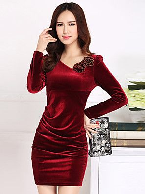 Women's+Plus+Size+/+Going+out+Street+chic+Bodycon+Dress,Solid+Asymmetrical+Above+Knee+Long+Sleeve+Red+/+Black+/+Purple+–+USD+$+22.99