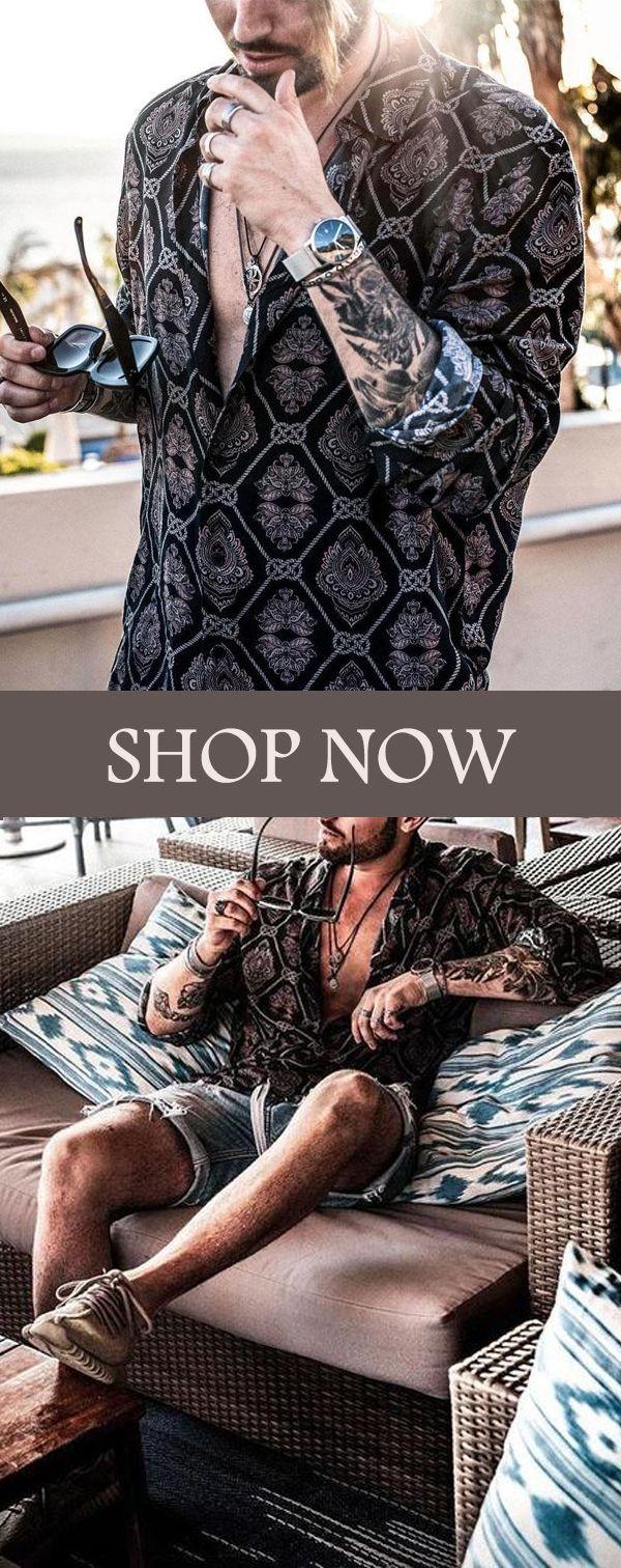 Men's Fashion Print Lapel Long Sleeve Holiday Shirt
