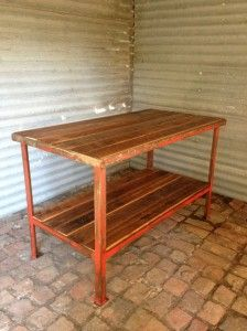 Industrial steel table with timber tops