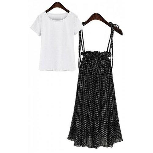 Stylish Women's Pure Color T-Shirt + Polka Dot Skirt