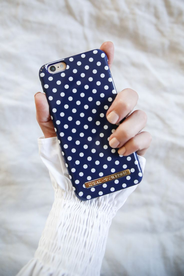 Blue Polka Dots by @emmymelin - Fashion case phone cases iphone inspiration iDeal of Sweden #Pokadots #blue #marin #fashion #inspo #iphone