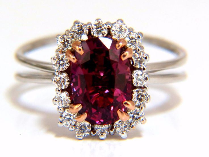 AGL Certified 2.69Ct Natural Ruby Ring Oval Mixed Cut Standard Heat Excellent color stability Purplish Red. Excellent cut Clean Clarity Round Diamonds: .30ct. G-color Vs-2 clarity. 18kt. white gold cu