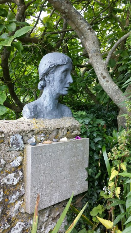 Memorial to Virginia Woolf in the garden of her house in Sussex