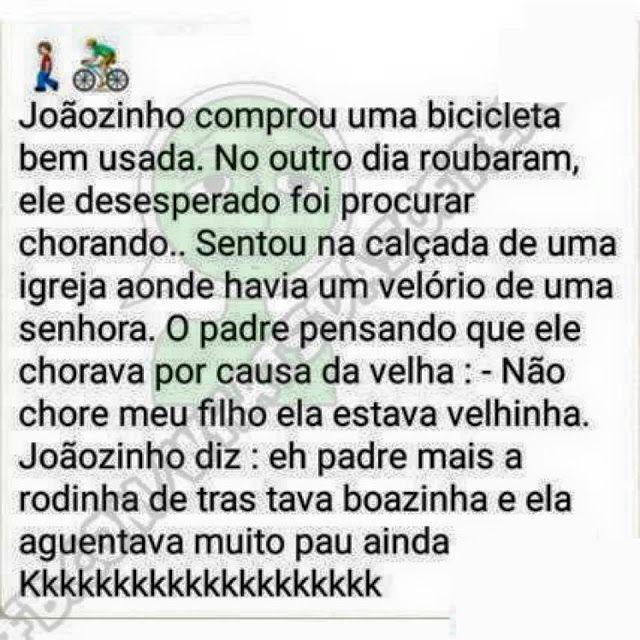 Você já imaginou besteira, né? Safadinho! Veja o post completo: http://boo-box.link/27FO9   #whatsapp   #zzz   #humor   #piada   #joaozinho   #bicicleta