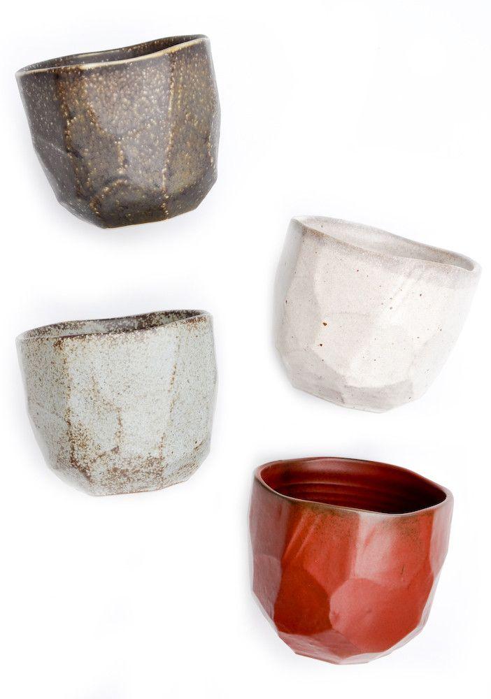 Faceted Boulder Cup Set: Bouldering Cups Sets, Faceted Ceramics Tumblers, Kitchens Stuff, Art Junk, Design Sponge, Fun Pots, Faceted Bouldering, Faceted Cups, Bowls Cups Pl