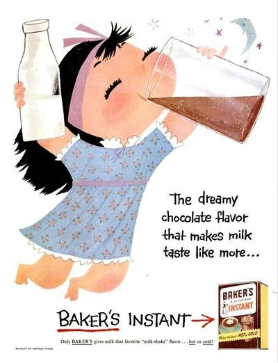 Baker's instant chocolate powder, 1956