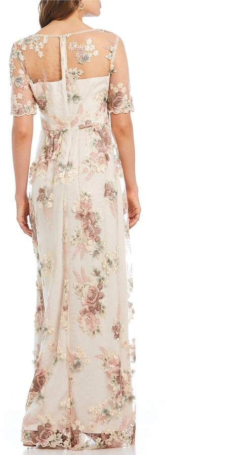 Emma street 3/4 sleeve boat neck beaded lace long gown #sleeve.