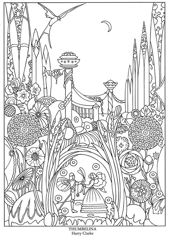 color your own great fairy tale illustrations coloring book pages thumbelina - Dover Coloring Books For Adults
