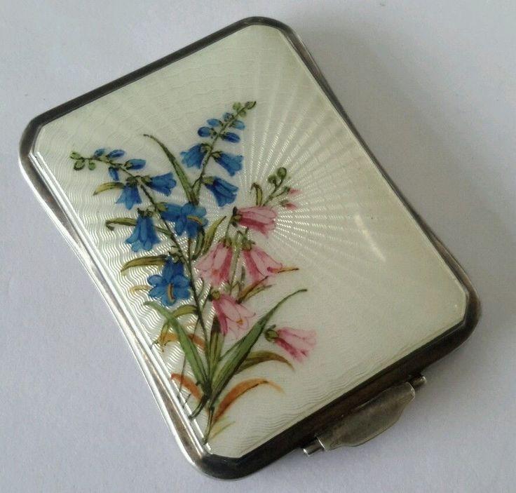 Antique 1930s silver enamel guilloche flowers powder compact. #Compacts