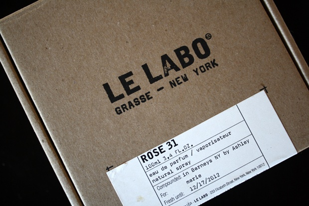 Le Labo perfume. Great bold uppercase type in stamp effect - simple labelling sticker beneath.