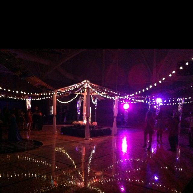 School Dance Decor & Lighting. String volleyball nets with lights