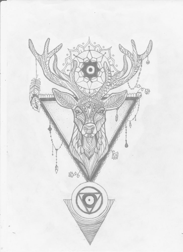 Zentangle stag tattoo design, ink & pencil (29-12-2017)