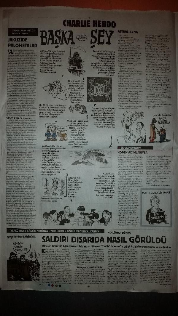 Turecké noviny Cumhuriyet přetiskly výběr z Charlie Hebdo