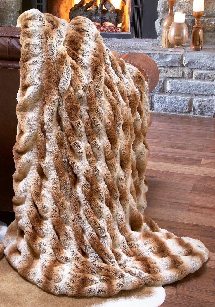 Luxury fashion designer couture latte mink faux fur throw for Fur throws for sofas